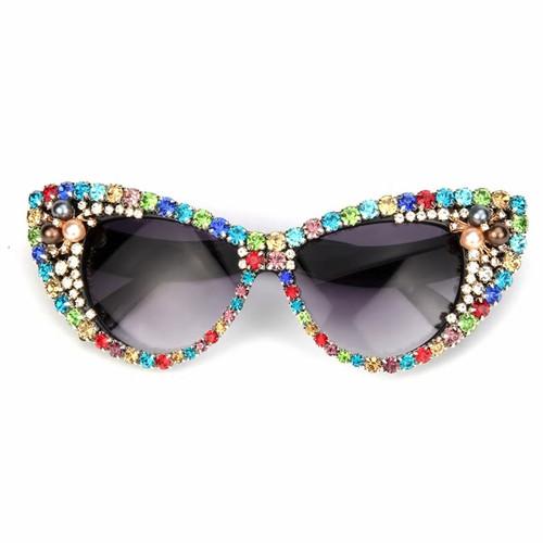 Colorful Rhinestones  Cat Sunglasses