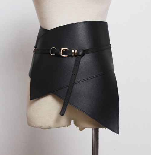 Edgy Thick Wide Corset Style Black Leather  Belt