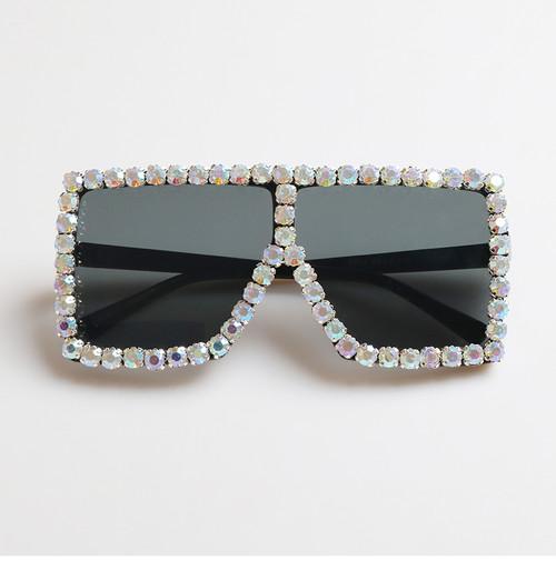 Oversized Crystal Square Sunglasses