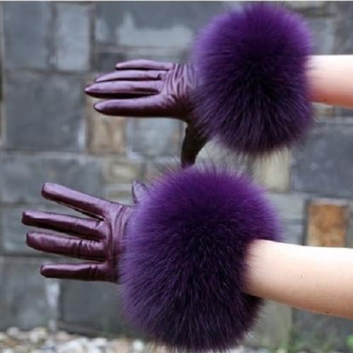 Fox Fur Pastel Purple Leather Gloves