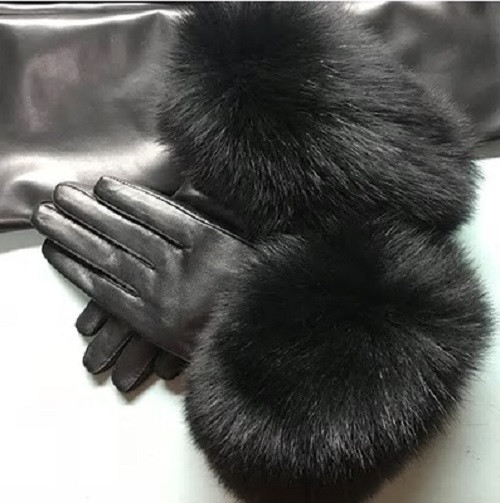 Fox Fur Black Leather Gloves