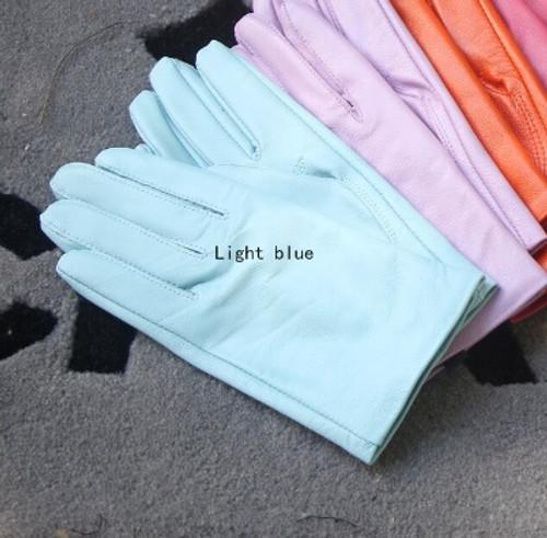 Light Blue Pastel Leather Gloves