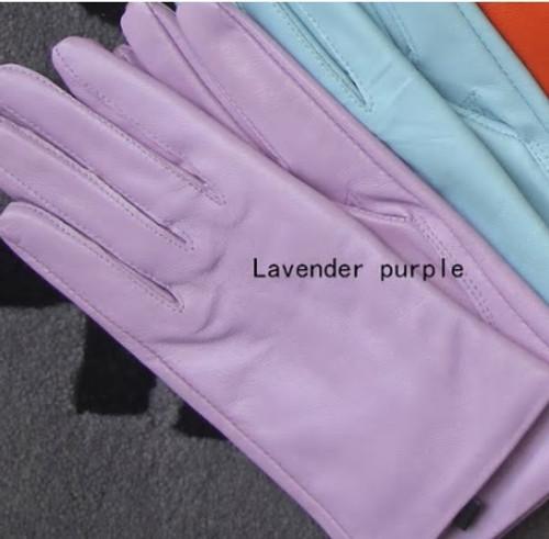 Purple Pastel Leather Gloves
