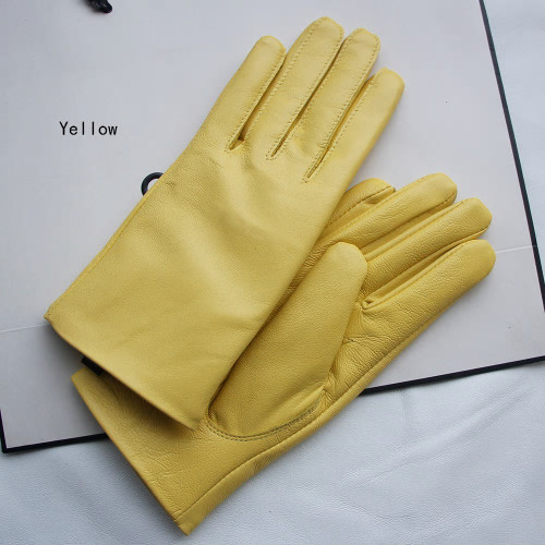 Light Yellow Pastel Leather Gloves