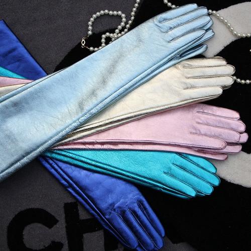 Metallic Opera Lengh Leather Gloves