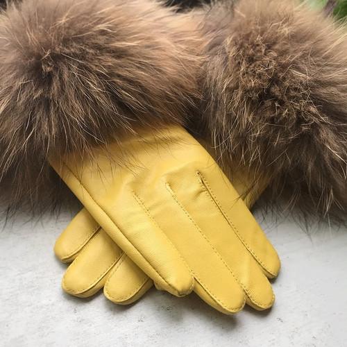 Raccoon Fur Yellow Leather Gloves