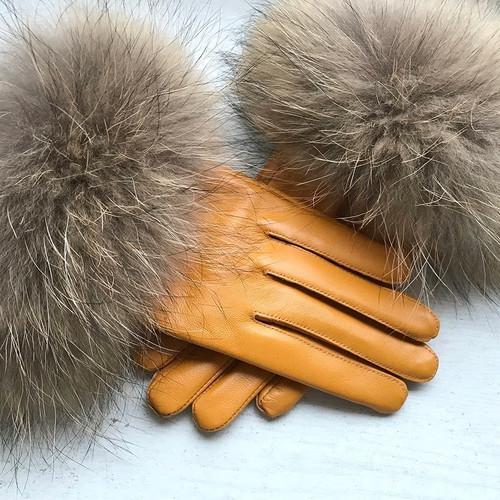 Raccoon Fur Mustard Leather Gloves