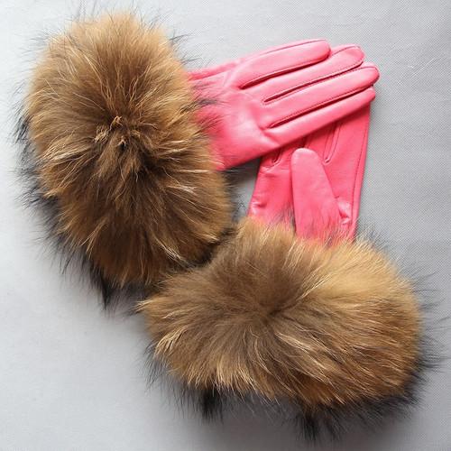 Raccoon Fur Salmon Leather Gloves