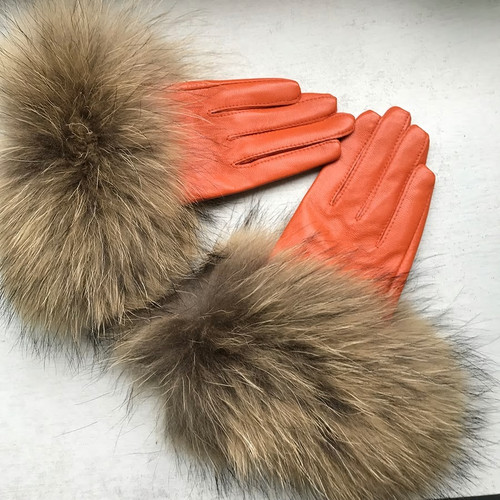 Raccoon Fur Orange Leather Gloves