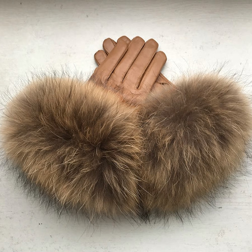 Raccoon Fur Brown Leather Gloves