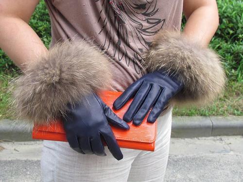 Raccoon Fur Black Leather Gloves