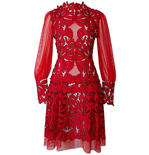 Hollow Out Mesh Embroidery Dress