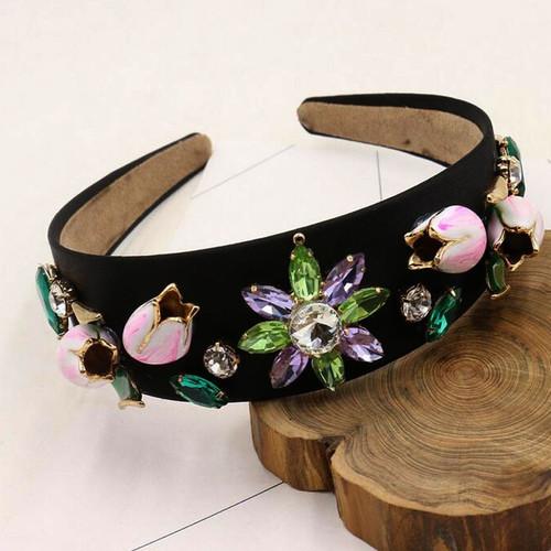 Vintage Baroque Style Rhinestone Floral Shaped Headband