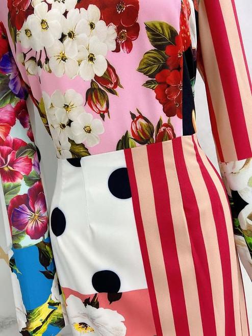 Multi Floral Print Contrast Dress