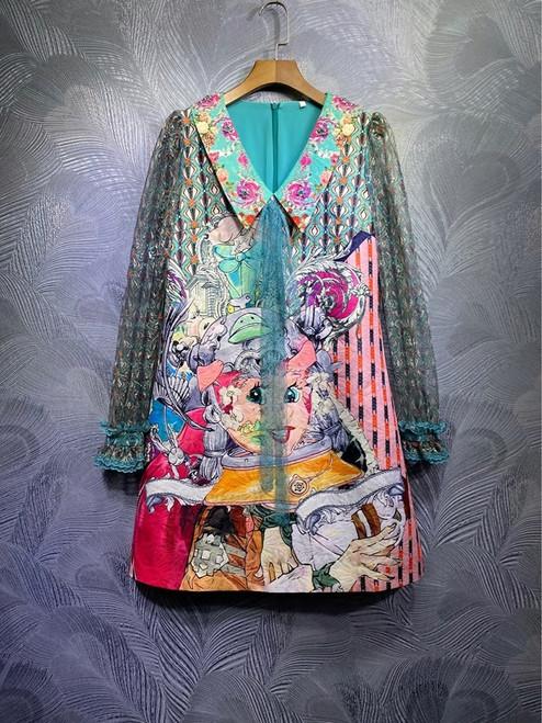 Jeweled Cartoon Print Lace Sleeve Dress