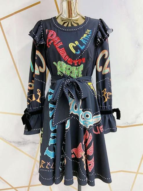 Sequin Letter Print Dress