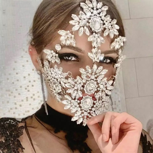 Exquisite Full Face Crystal Mask