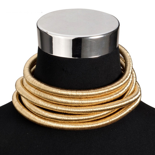 Unique High fashion Five Layer Gold Yarn Necklace