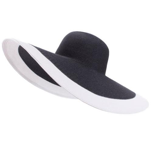 Black Wide Brim Straw Hat White Trim