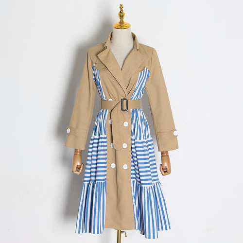 Striped Double Breasted Trench  Coat