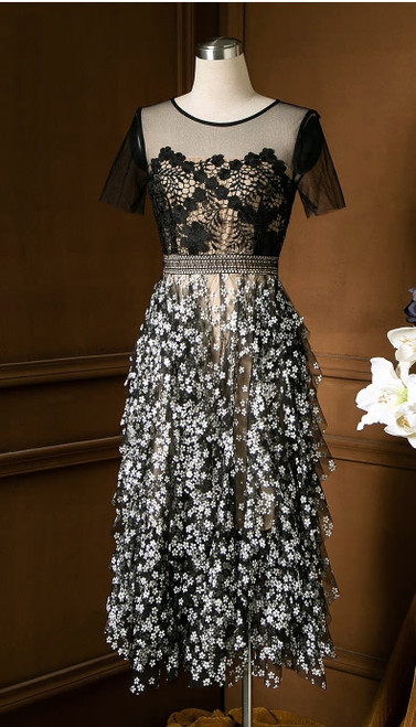 Hollowed Out Lace Mesh Floral Dress