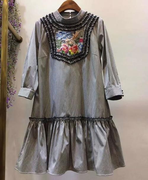 Retro Bird Print Dress