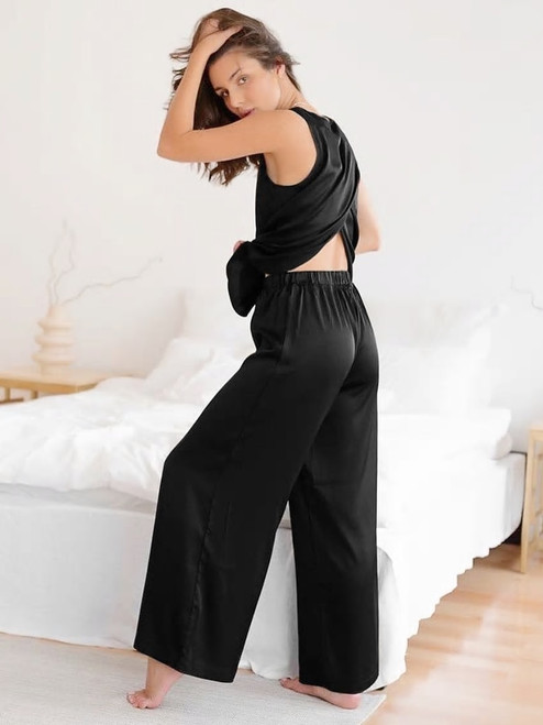 Slit Back Two Piece Pajamas Lounge Wear