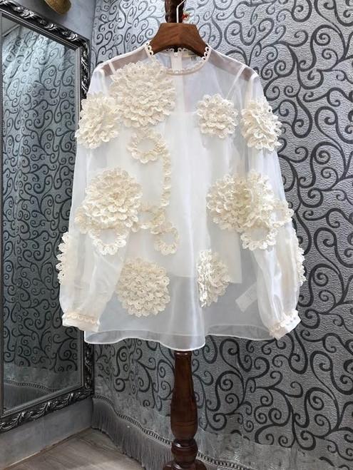 Flower Embroidered Lantern Sleeve Silk Blouse