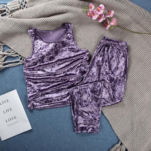 Purple Velvet Tanktop Pajamas Lounge Wear