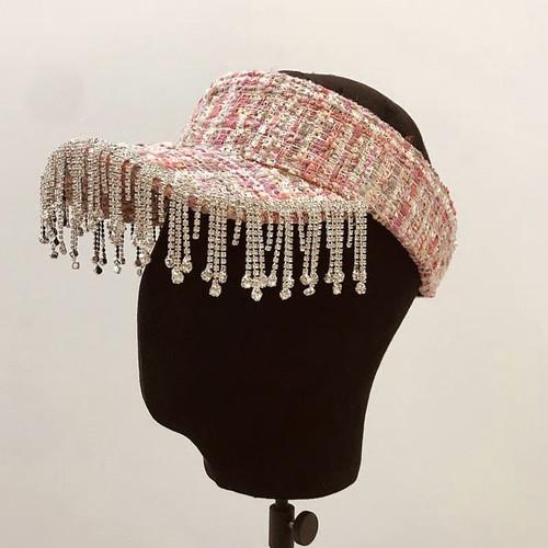 Tasseled Rhinestone Visor Hat