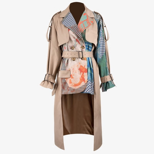 Printed Tailed Trench  Coat