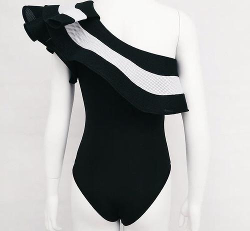 Ruffle One Shoulder Swim Suit