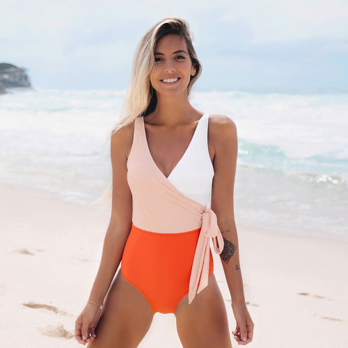 Color Block Wrap One Piece Swim Suit