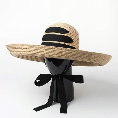 Wide Brim Ribbon Raffia Beach Hat