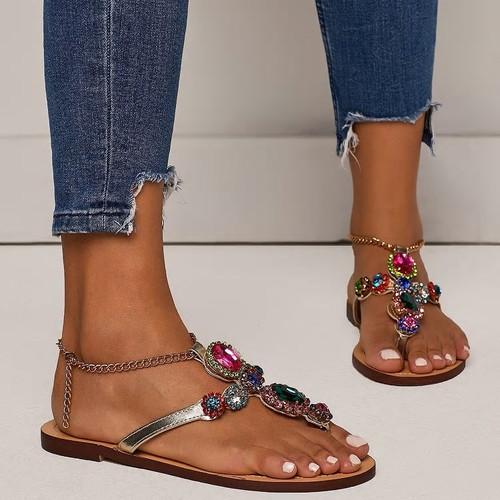 T Strap Colorful Jewel Sandals