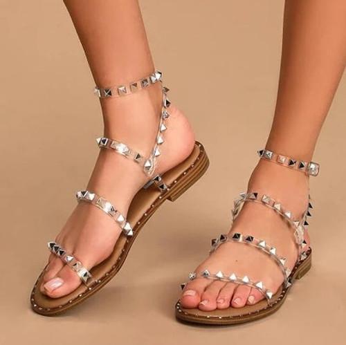 Studded Transparent Sandals