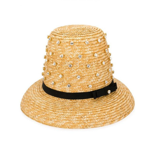 Jeweled High Top Straw Hat