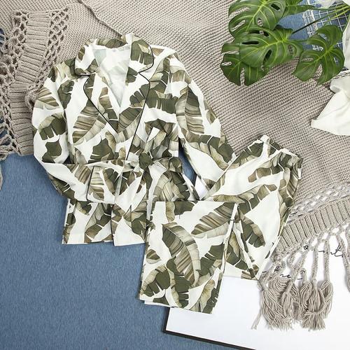 Leaf Print Pajamas Lounge Wear
