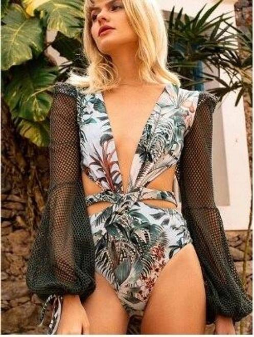 Net Bell Sleeve Leaf Print Swim Suit