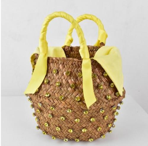 Yellow Jeweled Straw Bucket Purse