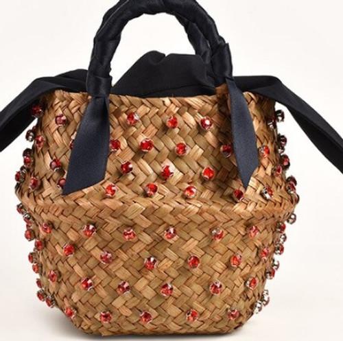 Red Jeweled Straw Bucket Purse