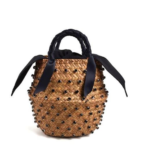 Black Jeweled Straw Bucket Purse