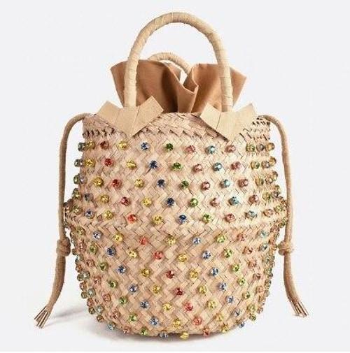 Multicolor Jeweled Straw Bucket Purse