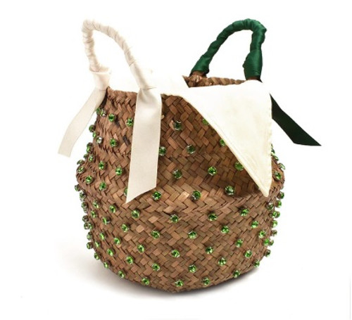 Green Jeweled Straw Bucket Purse