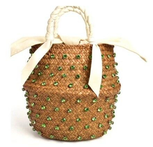 Green White Lined Jeweled Straw Bucket Purse