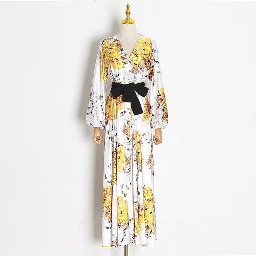 Lantern Sleeve V neck Floral Dress