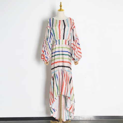 Lantern Sleeve Striped Dress