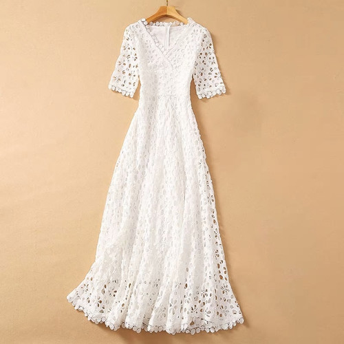 Hollowed Out Lace V Neck Dress