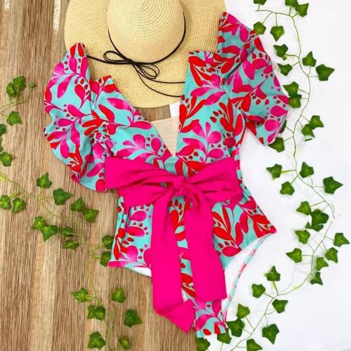 Plunging Neckline Floral Print Swim Suit