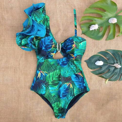 One shoulder Leaf Print Swim Suit